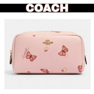 🎉HP🎉 Coach Boxy Cosmetic Case Pink Butterfly 🦋